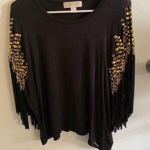 Black Michael Kors shirt with gold detail.